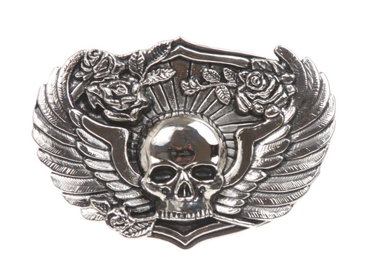 Winged Skull Roses Pirate Belt Buckle