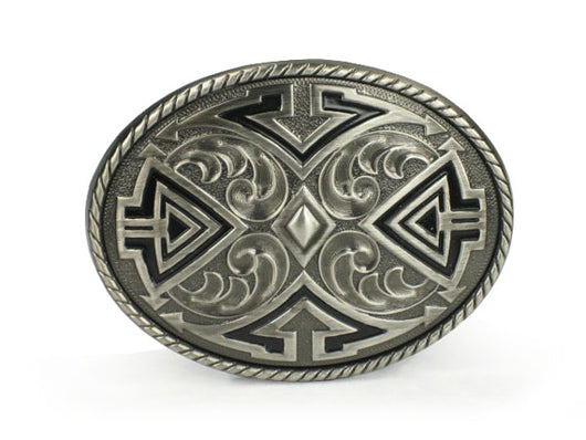 Western  Oval Pewter Belt Buckle