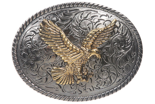 Westerm Engraved Flower Oval Eagle Belt Buckle
