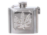 Rhinestone Marijuana Flask Belt Buckle