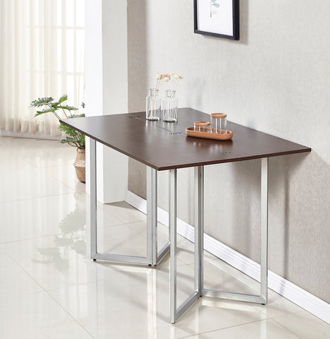 Minimax Decor Multi-Purpose Modern Space Saving Expandable Desk and Dining Table Transforms from a Console Table or Desk to a Large Dining Table - Dark Brown