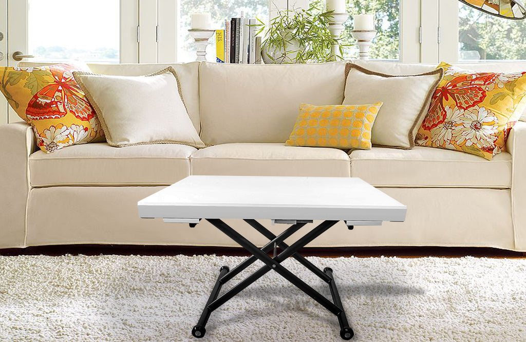 The MiniMax Decor Expandable Tempered Glass Coffee Table is a perfect structural design. With its expansion capabilities and stronger-than-ordinary glass top, this functional piece is a form that meets function without compromising strength and durability. This table not only extends by width, but by height as well, creating the necessary table for any occasion.
