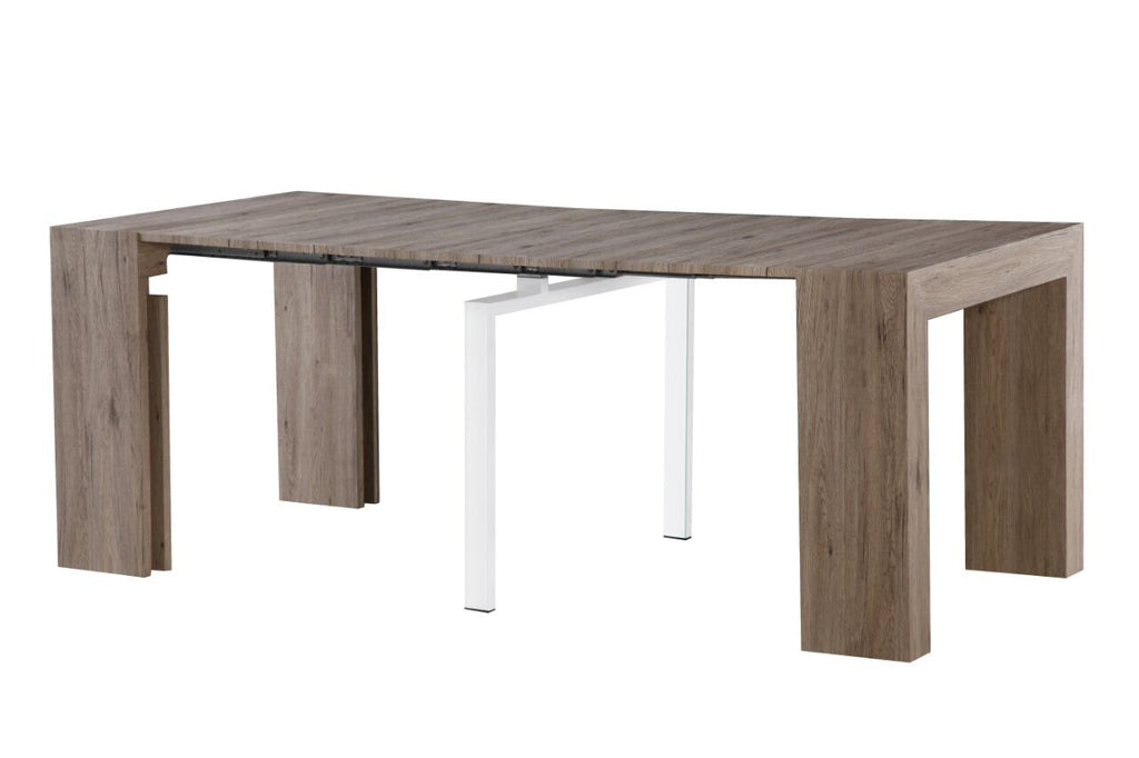 ... Extendable Space Saving Dining Table Expands From Console Table To  Large Dining Table Driftwood ...