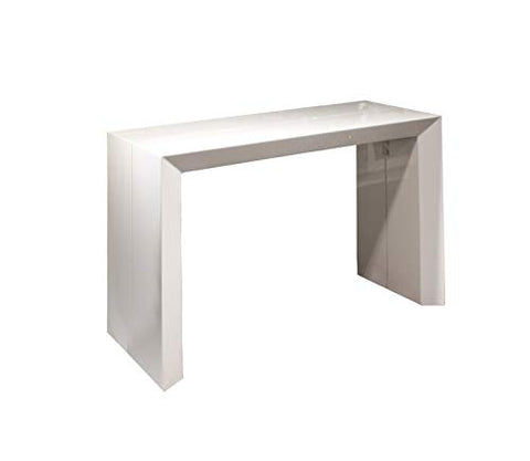 Extendable Space Saving Table, Transforms from a Console Table or Desk to a Large Dining Table That Seats Up to Ten White Gloss - Beveled Edition