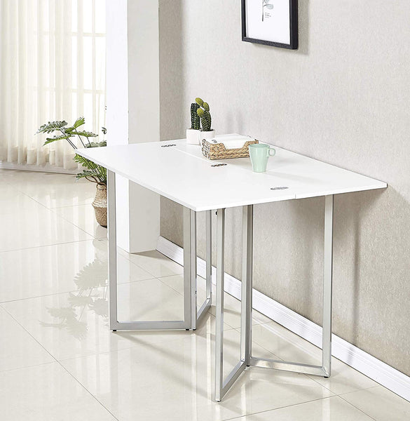 Minimax Decor Multi-Purpose Modern Space Saving Expandable Desk and Dining Table Transforms from a Console Table or Desk to a Large Dining Table - White