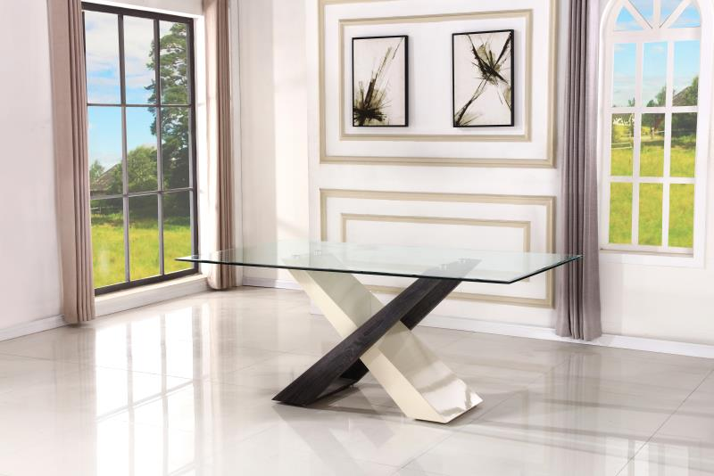 MiniMax Decor Criss Cross Modern Glass Dining Table