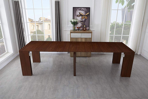 Extendable Space Saving Table Transforms Console to Seat Twelve, Sienna 2.0