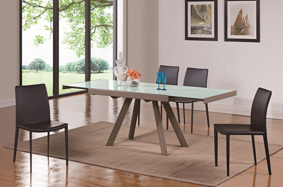 Extendable Double Leaf Glass Table to Seat Ten