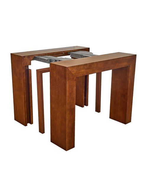 Extendable Space Saving Table Transforms Console to Seat Twelve, Sienna