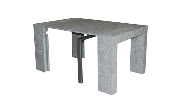Extendable Space Saving Table Transforms Console to Seat Twelve, Concrete