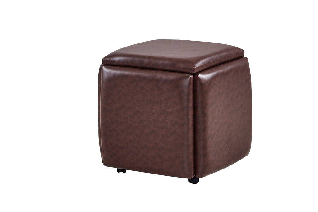 MiniMax 5-in-1 Cube melts away worries about seating options for at-home gatherings or unexpected guests. Each set contains a total of five sleek chrome stools magically unveiled from a 19-inch durable faux leather geometric design with the power to transform any space into a makeshift social get-together. The dynamic combination is suitable for any Decor style or space size and is available in four beautifully bold colors: brown, white, grey, and red.
