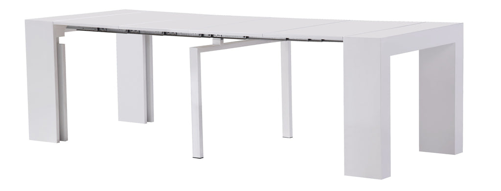 Extendable Space Saving Dining Table Expands From Console Table To Large  Dining Table White Gloss