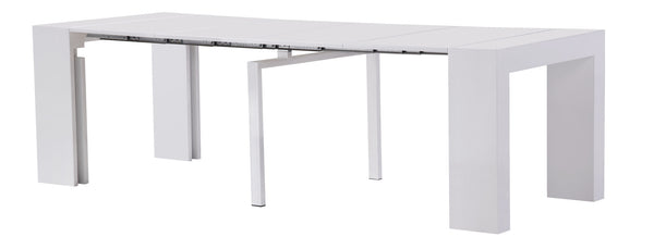 Extendable Space Saving Table Transforms Console to Seat Twelve, White Gloss