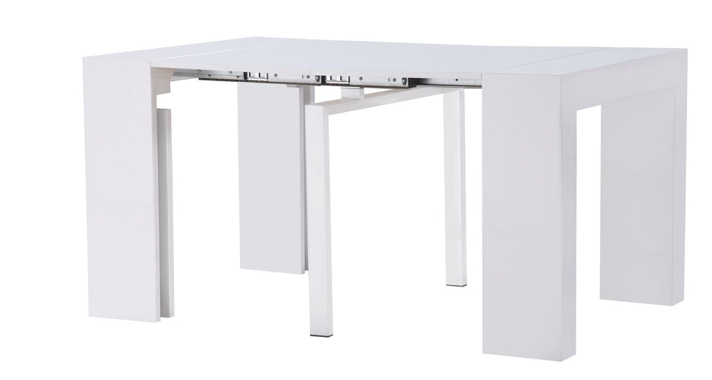 ... Extendable Space Saving Dining Table Expands From Console Table To  Large Dining Table White Gloss ...