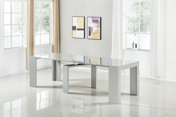 Extendable Space Saving Table Transforms Console to Seat Twelve, Grey Gloss 2.0