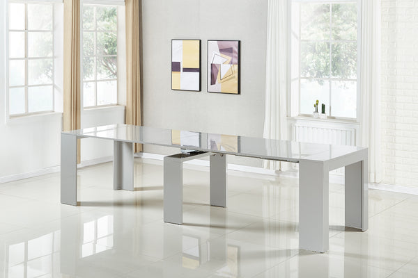 Extendable Space Saving Table Transforms Console to Seat Twelve, Grey Gloss