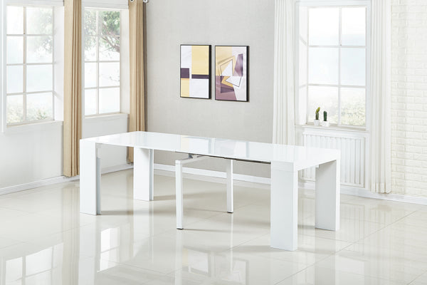 Extendable Space Saving Table Transforms Console to Seat Twelve, White Gloss 2.0