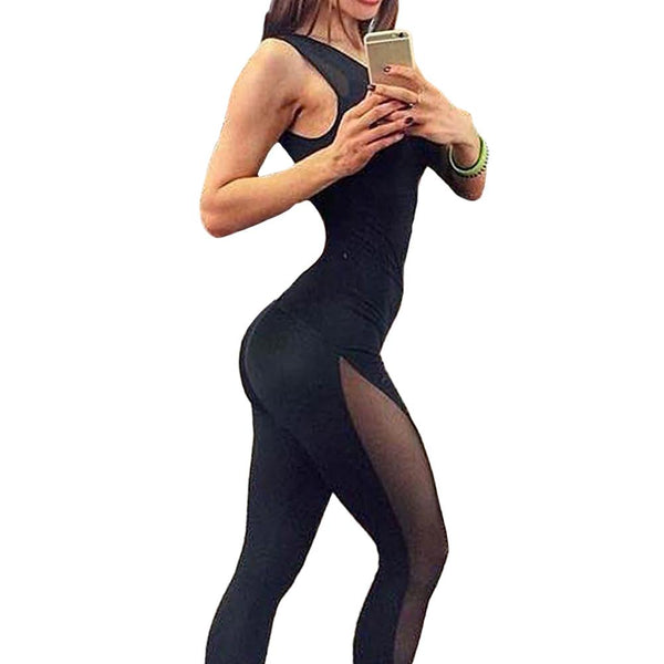 Women Jumpsuit Sleeveless Mesh Overalls Fitness O Neck Workout Bodysuit  Leotard 402266df8700