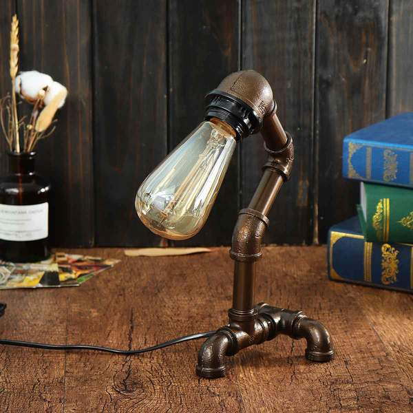 Lampe de Table Industrielle Vintage Pipe Tube