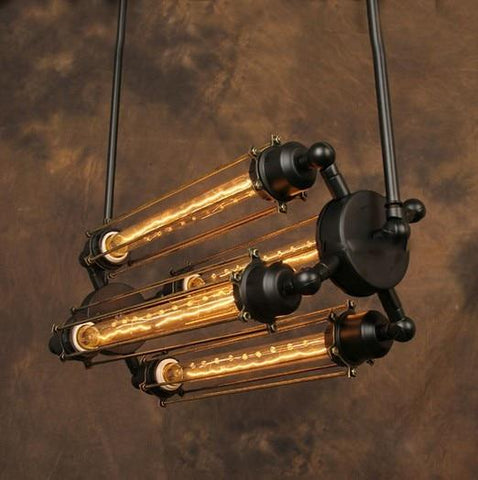 Suspension Industrielle Vintage 4 Ampoules - BRONSON
