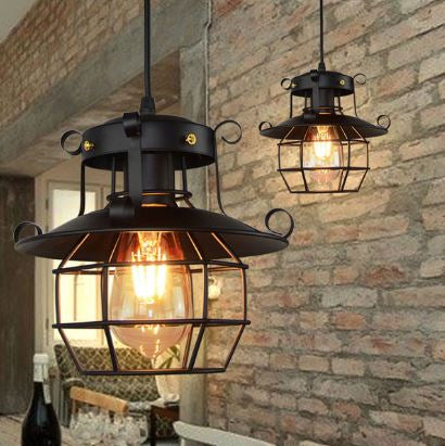 Suspension Industrielle Vintage avec Cage