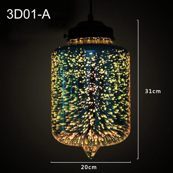 Suspension Moderne Industrielle Brillant 3D En Verre