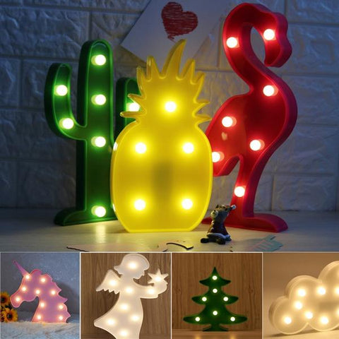 Veilleuse Marquise LED - Flamant Licorne Ananas Cactus Étoiles