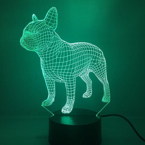 Veilleuse Bouledogue Français LED Multicolore | Lampe de chevet