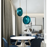 Suspension Design Cylindrique en Verre Bleue - AGORIA