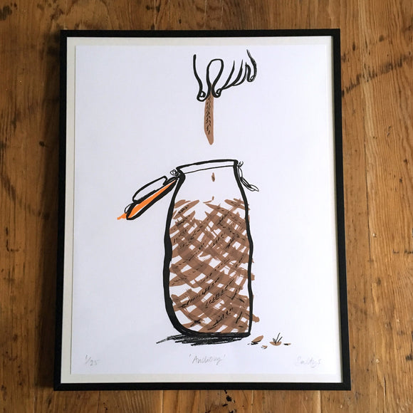Framed screenprinted image photographed from above on a wooden table, hand drawn black ink outline of a kilner jar containing brown anchovies. A hand pulls out one anchovy.