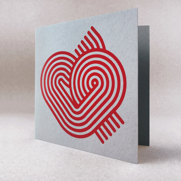 Stripy heart on grey card
