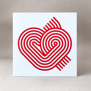 Stripy heart on white card