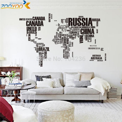 Large World Map Wall Sticker (Letters)
