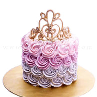 Rosette Swirls Ombre Cake with Tiara