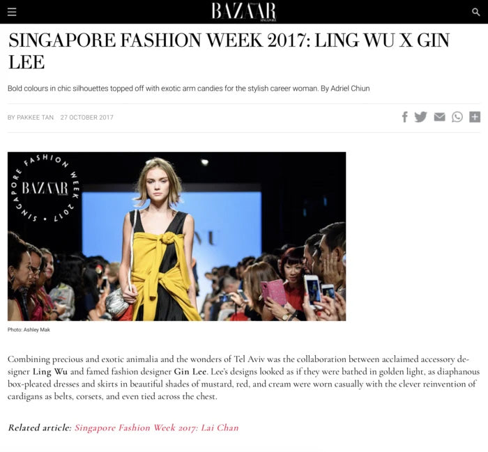 Harper's Bazaar: Singapore Fashion Week 2017: Ling Wu x Gin Lee