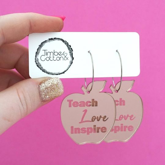 'Teach Love Inspire' Apple Hoop Dangles - Rose Gold - Get Ready For School Australia