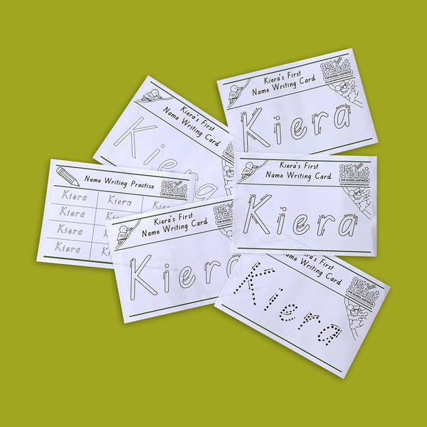 Laminated Personalised Name Writing Set - Get Ready For School Australia