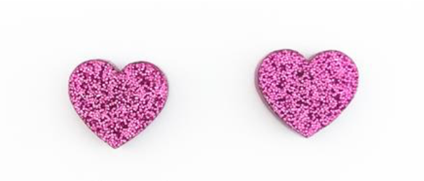 Magenta Glitter Heart Earrings - Get Ready For School Australia