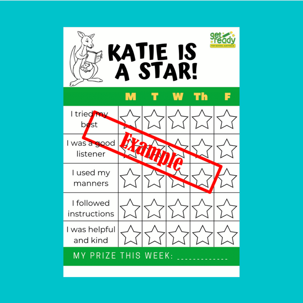 Laminated Personalised Re-usable Rewards Chart Pack - Get Ready For School Australia