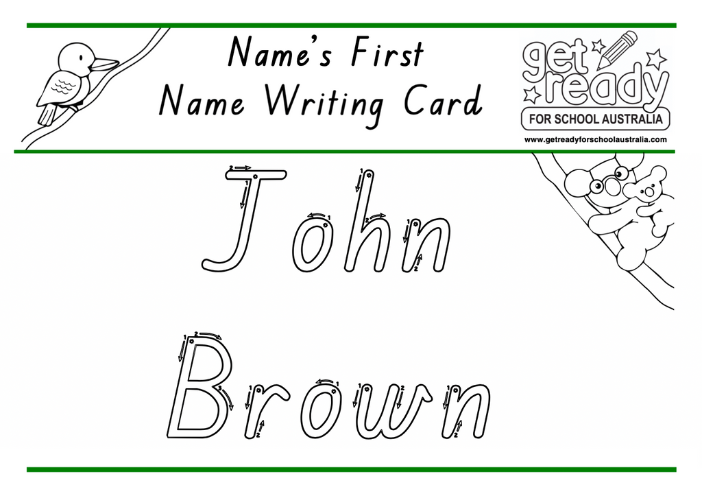 Laminated Personalised Full Name - Name Writing Set - Get Ready For School Australia
