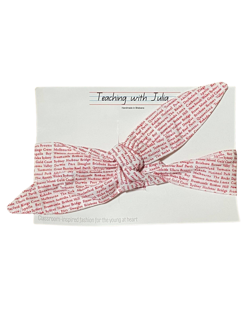 "Handmade ""Red and White Aussie Geography"" wrap headband - Get Ready For School Australia"