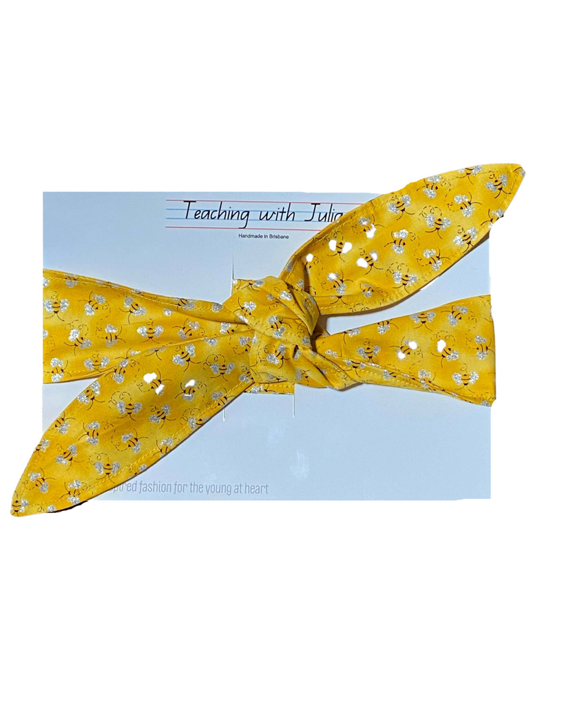 "Handmade ""Yellow Buzzing Bee"" wrap headband - Get Ready For School Australia"