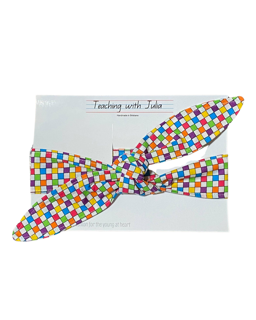 "Handmade ""Colourful Squares"" wrap headband - Get Ready For School Australia"