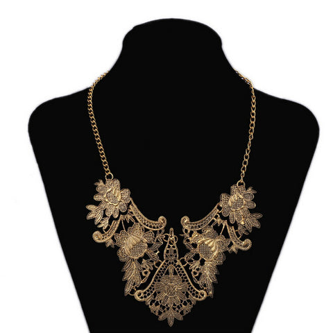 Vintage Silver Flower Statement Necklace