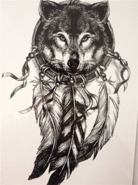 Wolf With Feather Temporary Tattoo - UniValley