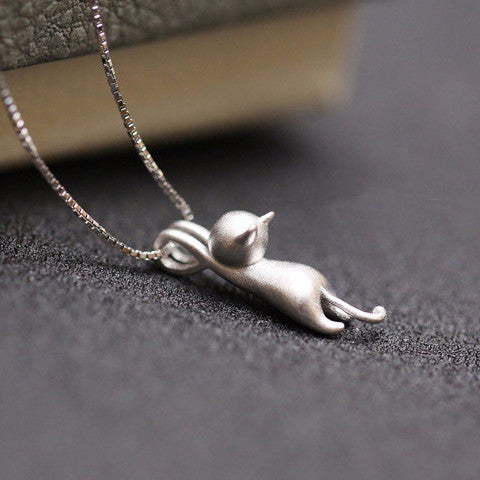 Silver Cat Necklace - UniValley