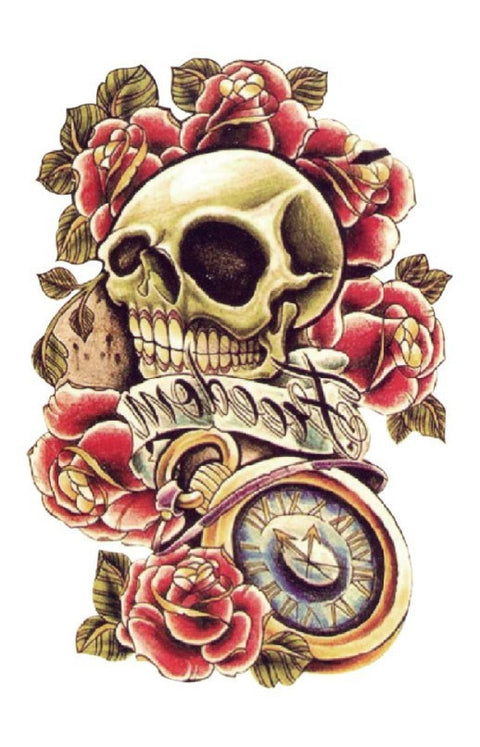 Pink Rose Skull Temporary Tattoo - UniValley