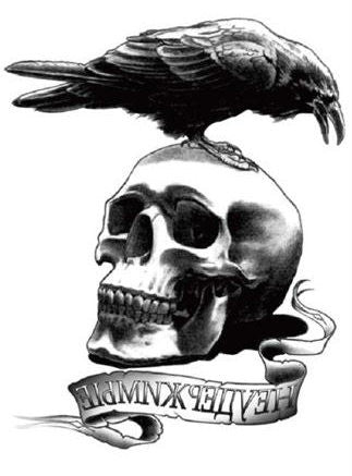 Crow With Skull Temporary Tattoo - UniValley
