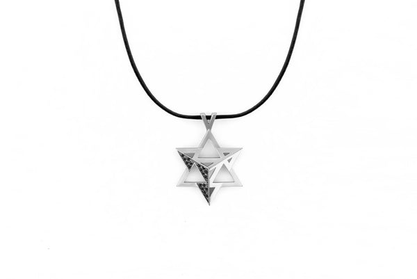 Merkavah Pendant set with Black Colored Diamond - Chaya & Raphael's Galleries