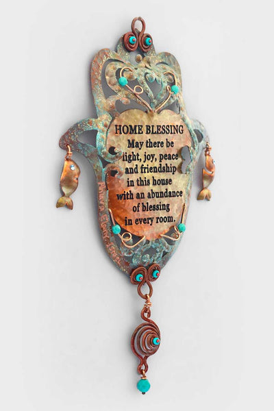 English Home Blessing and Fish Hamsa - Chaya jewelry, Jerusalem